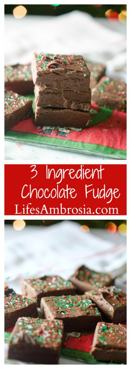 This super easy 3 ingredient chocolate fudge is a pure chocolate decadence and a Christmas staple in our home.