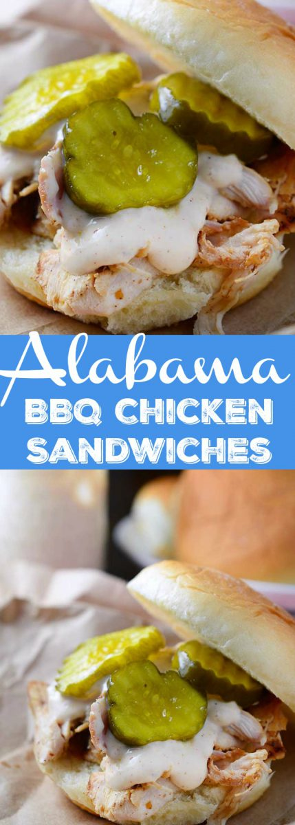 Chicken marinated in Alabama BBQ sauce, grilled, shredded and topped with more Alabama BBQ and bread and butter pickles. The perfect summer sandwich!