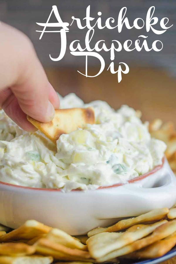 Artichoke Jalapeño Dip is a MUST for potlucks and parties! #artichokedip #vegetarian #jalapeno #appetizer #footballfood