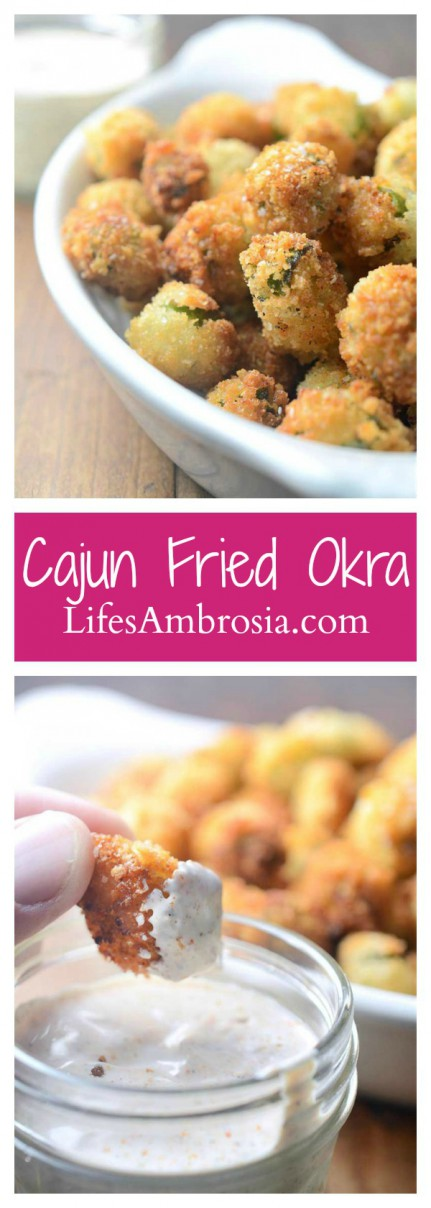 A classic southern dish, Cajun fried okra is crispy and addicting. A cajun dipping sauce gives it the perfect amount of kick!