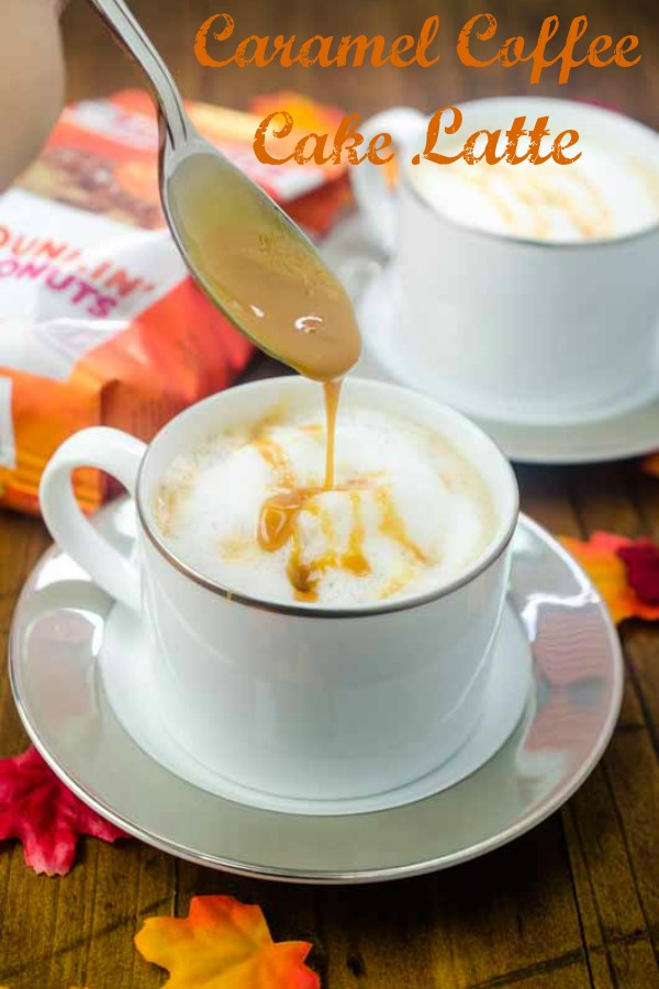 #AD With only 6 ingredients, this Caramel Coffee Cake Latte is easy to make at home. And it is the perfect afternoon pick me up on a cool fall day.