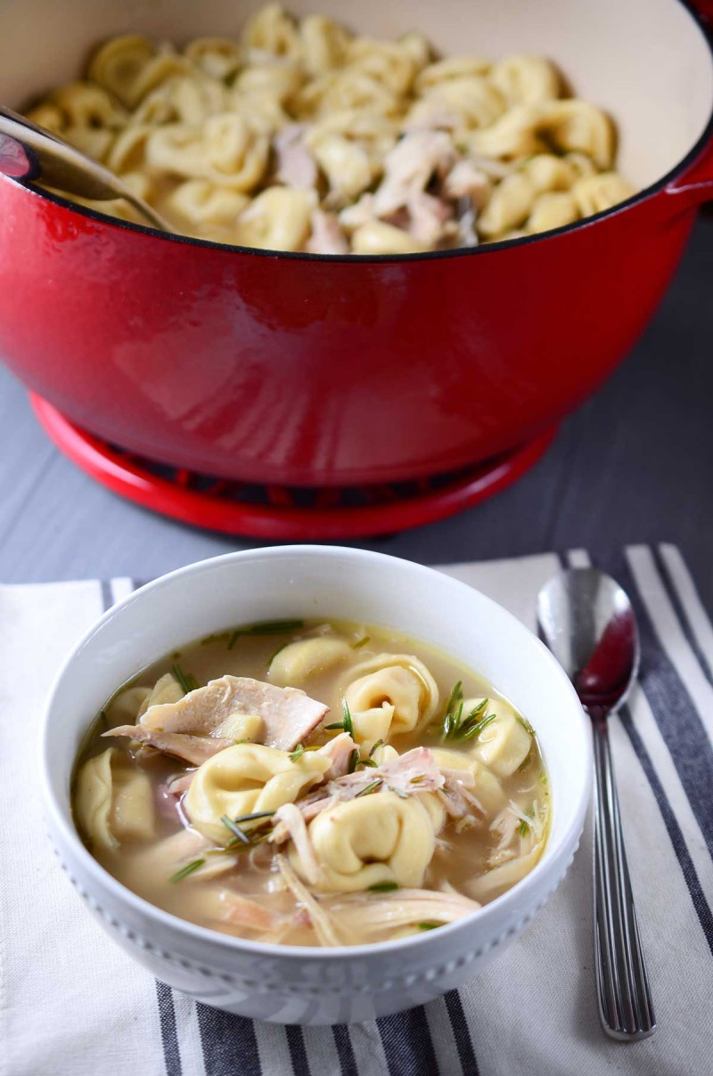 Chicken Tortellini Soup is a filling soup with shredded chicken, rosemary and cheesy tortellini. It is the perfect hearty chicken soup for a cold winter day.