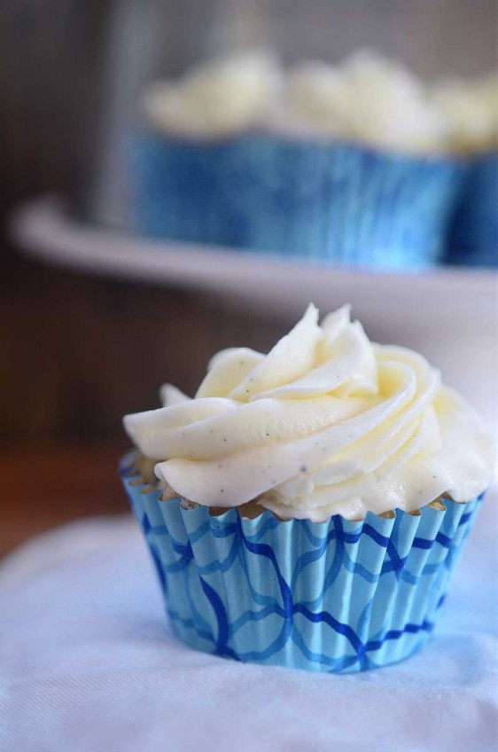 Chocolate Chip Cupcakes with Vanilla Bean Buttercream