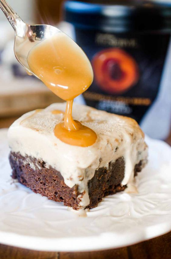 Cold Brew Caramel Ice Cream Brownie Bars