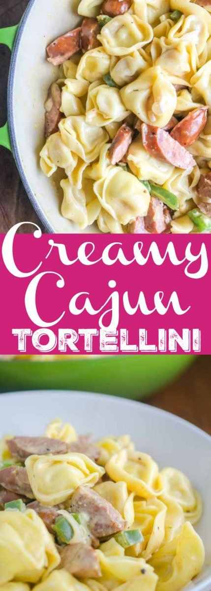 Creamy Cajun Tortellini is a decadent, spicy pasta dish that comes together in a flash. Cheesy tortellini, andouille sausage and bell peppers simmered in a creamy cajun sauce.