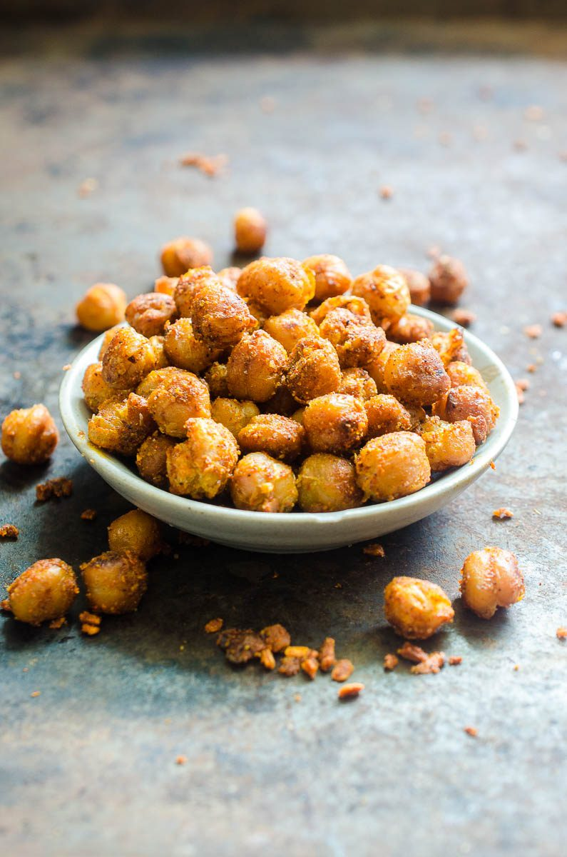 Crispy Chickpeas are an easy, versatile snack. These Crispy Chickpeas are pan fried and tossed in taco seasoning. Eat them as a snack or in a taco shell for a vegetarian taco!