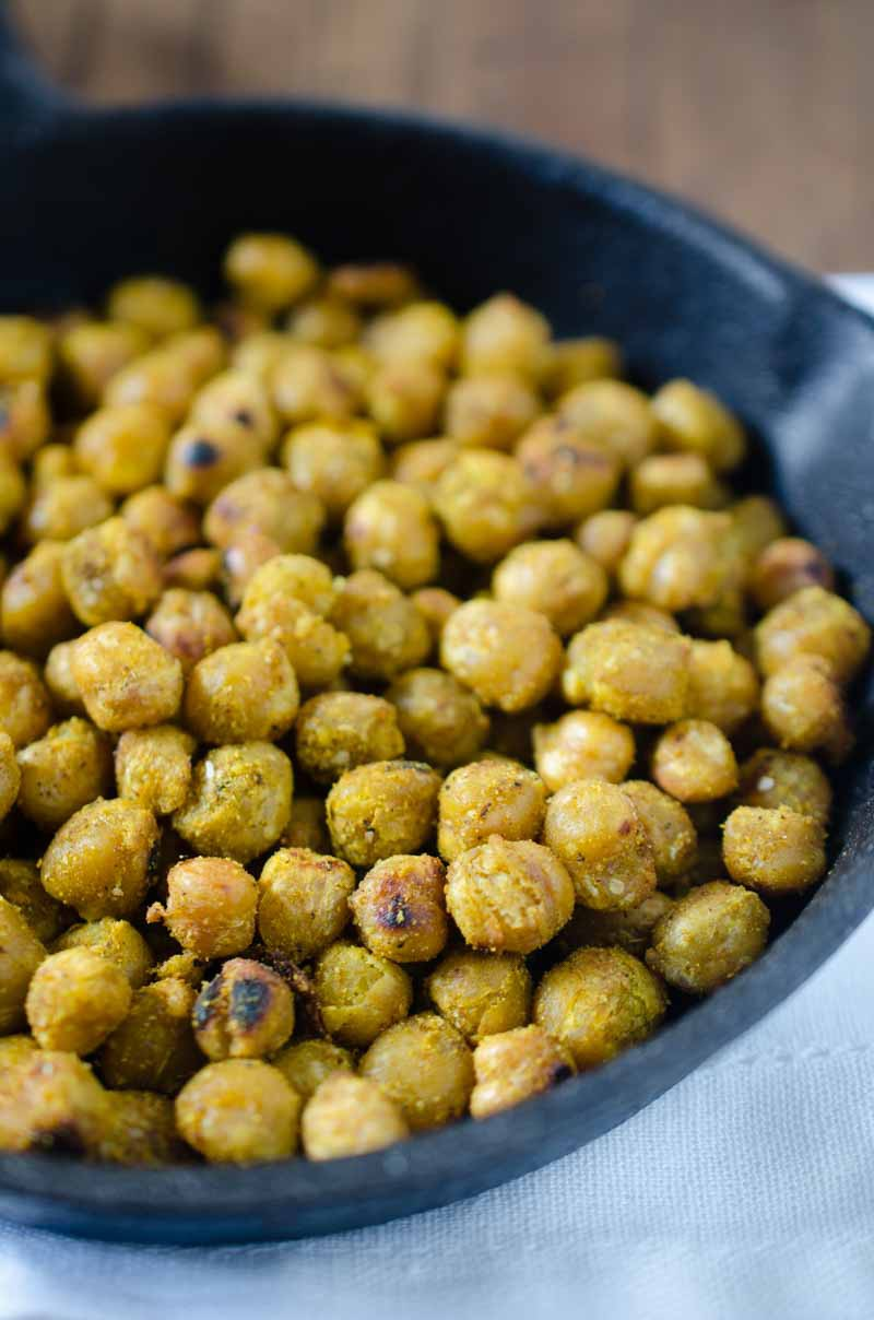 Crispy Curry Chickpeas are a quick, protein filled snack that is a favorite around here!