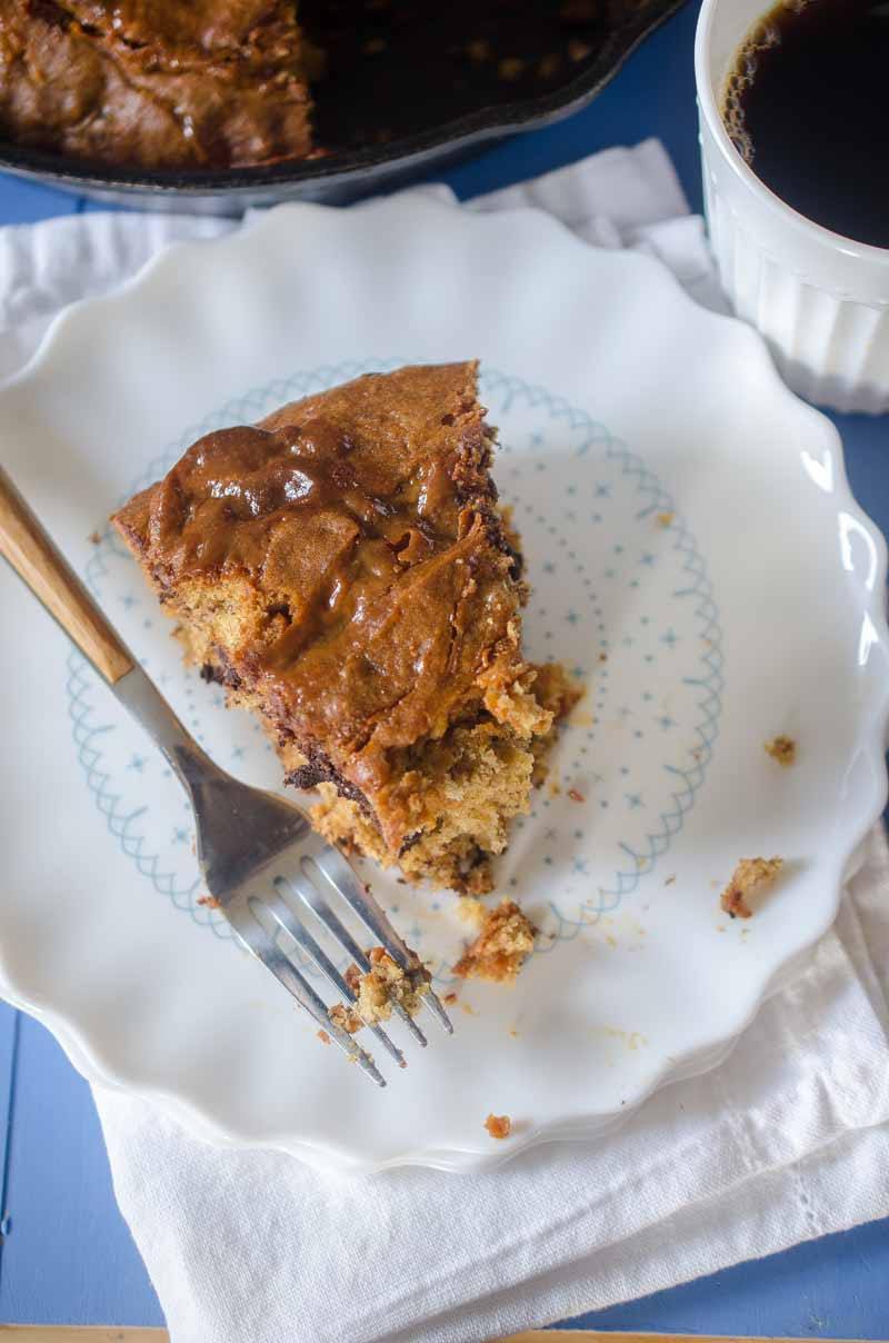 Dulce de Leche Banana Bread with dark chocolate chunks and a swirl of Dulce de Leche. Serve it for breakfast or dessert...or both.