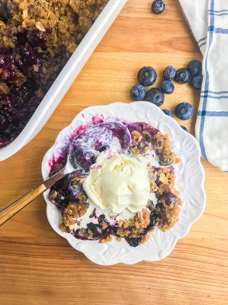 Savoring summer's sweet berries with this Easy Blueberry Crisp. Sweet blueberries topped with a sugary crust and baked until golden and bubbly.