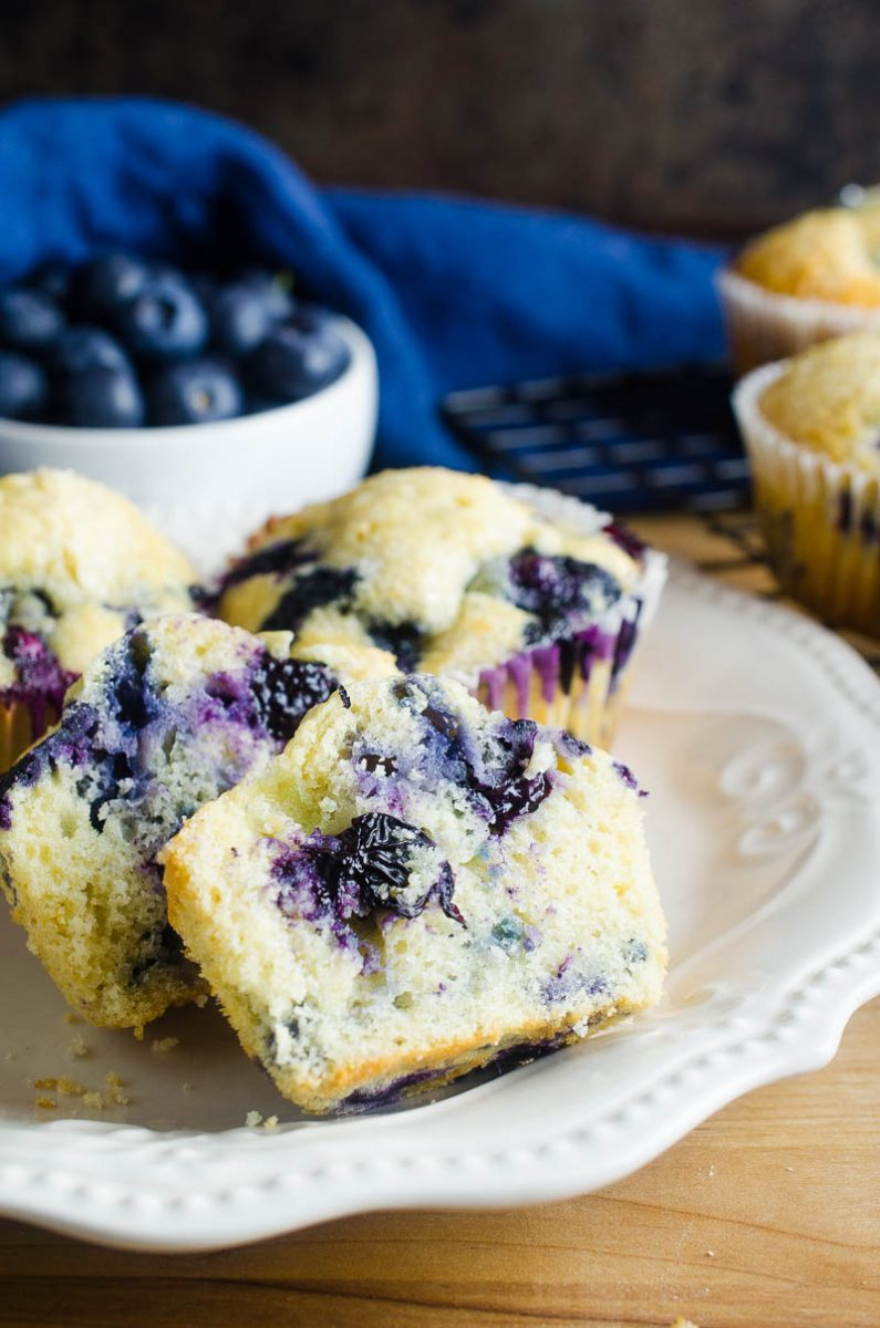 Easy blueberry muffins are a classic for a reason. Moist, tender and loaded with fresh blueberries. Great for breakfast or afternoon snacks.