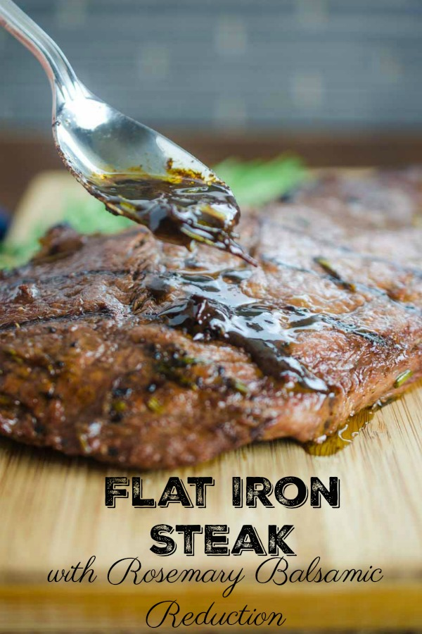Grilled Rosemary and Balsamic Steak is perfect for summer! Grilled flat iron steak topped with a balsamic, red wine, rosemary and garlic reduction.