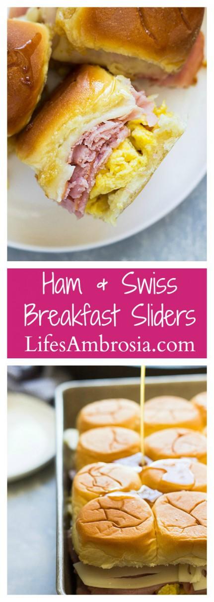 Ham and Swiss Breakfast Sliders Collage