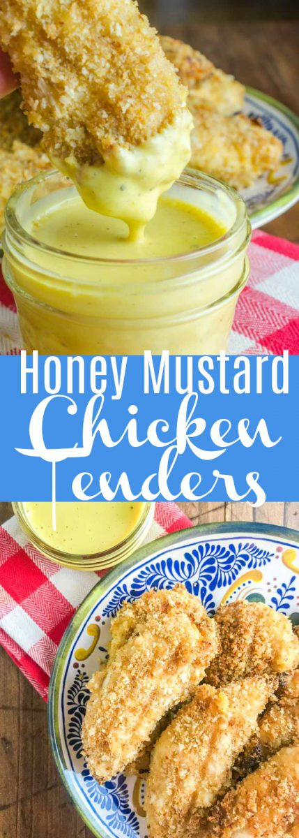 Baked Honey Mustard Chicken Tenders are marinated in honey mustard dressing, dredged in panko and baked until golden. They are a family favorite and perfect for weeknights!