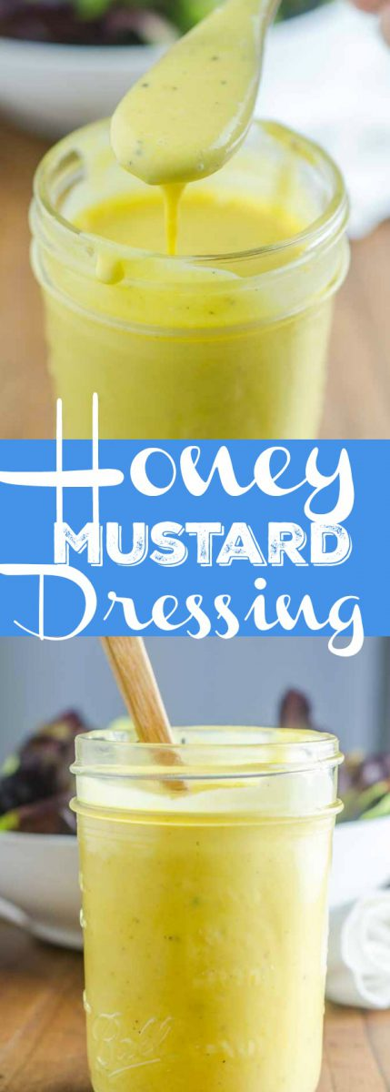 Sweet and tangy Honey Mustard Dressing is great to drizzle over your favorite salad or to use as a dip for chicken and fries.