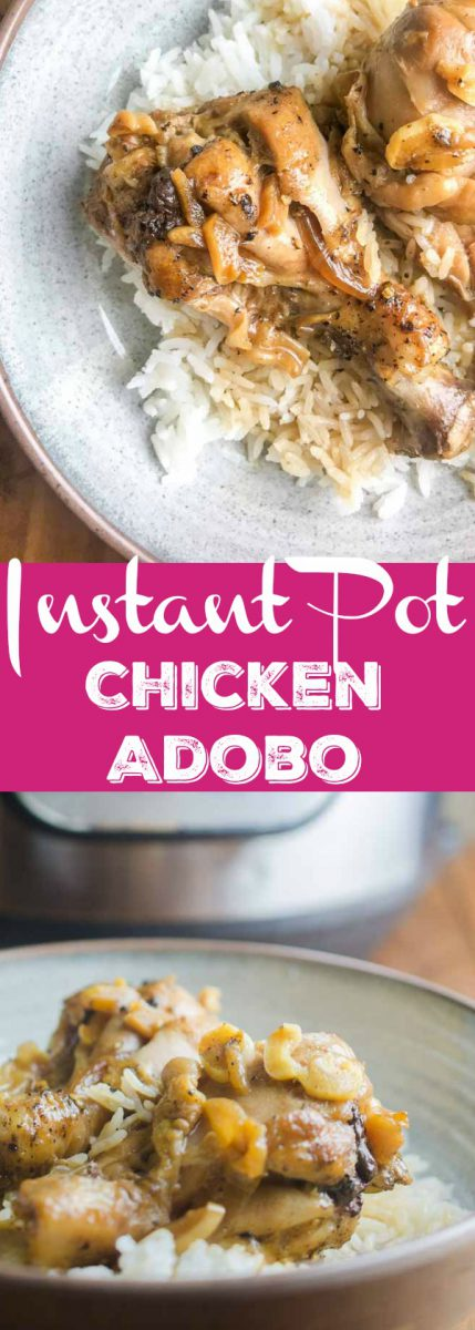 Instant Pot Chicken Adobo is a savory chicken dish with soy sauce, vinegar, peppercorn, garlic and bay leaves. A classic Filipino dish made easy in the Instant Pot.