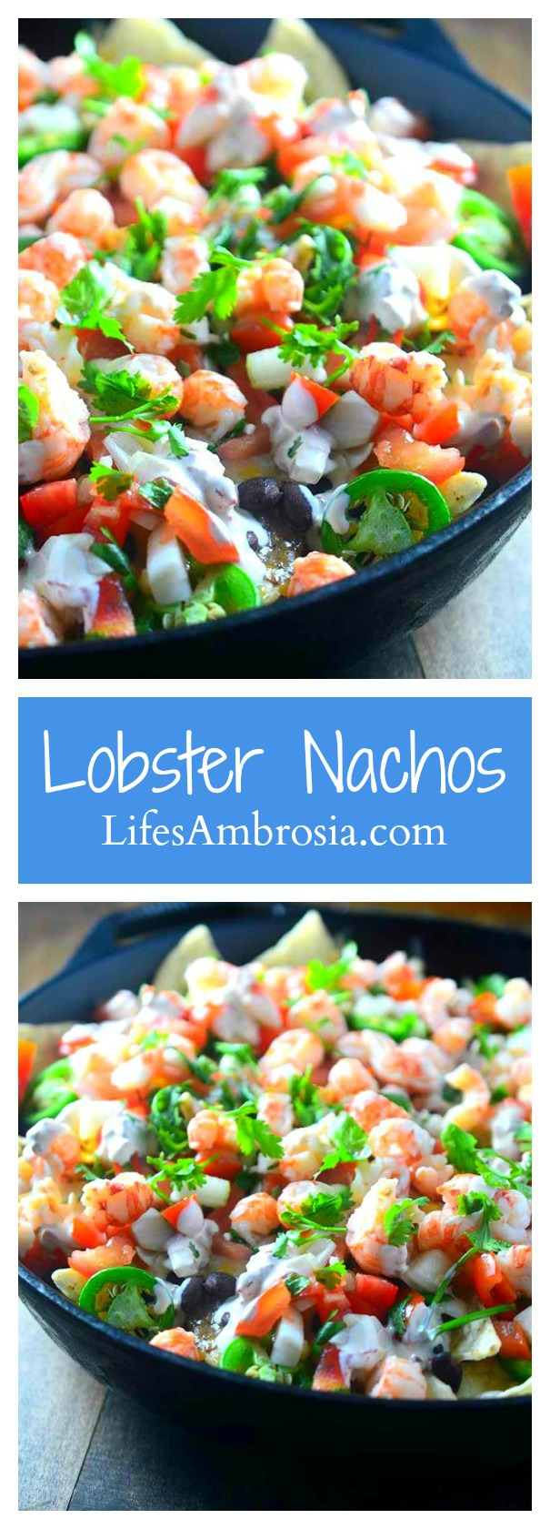 Lobster nachos are piled high with langoustine lobster tails, two kinds of cheese, black beans, homemade pico de gallo, jalapeños and a creamy chipotle sour cream.