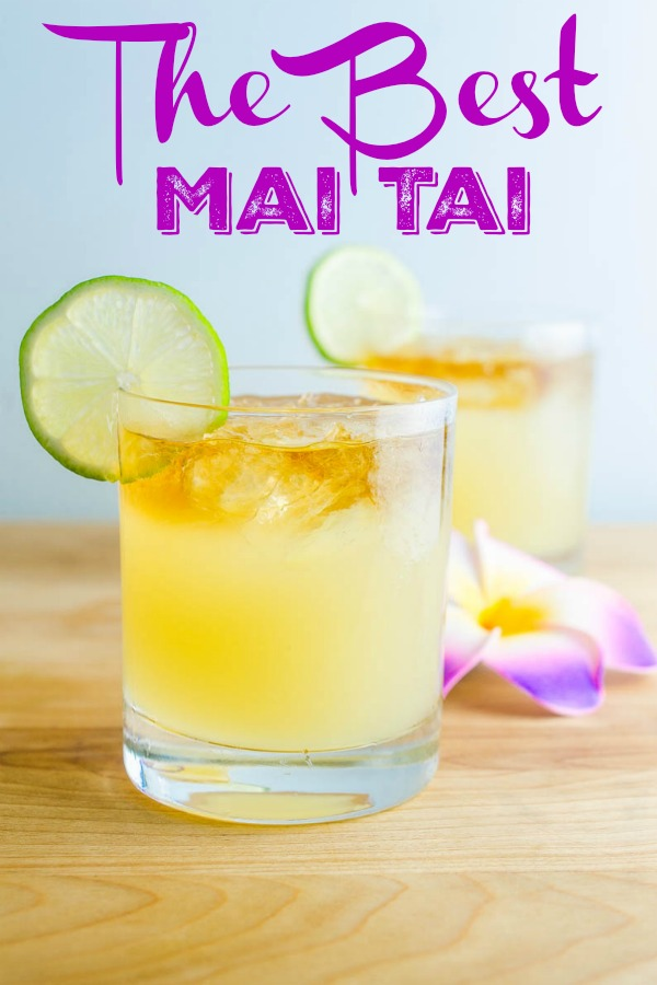 How to make THE BEST Mai Tai. A classic Mai Tai Cocktail with 3 different kinds of rum, lim juice, almond and simple syrup. One sip and you'll feel like you're oceanside in Hawaii. Well, almost.  #cocktail #maitai