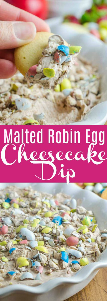 #ad Malted Robin Egg Cheesecake Dip is a delectable no bake dessert perfect for all of your Easter celebrations. With only six ingredients it's a breeze to make.