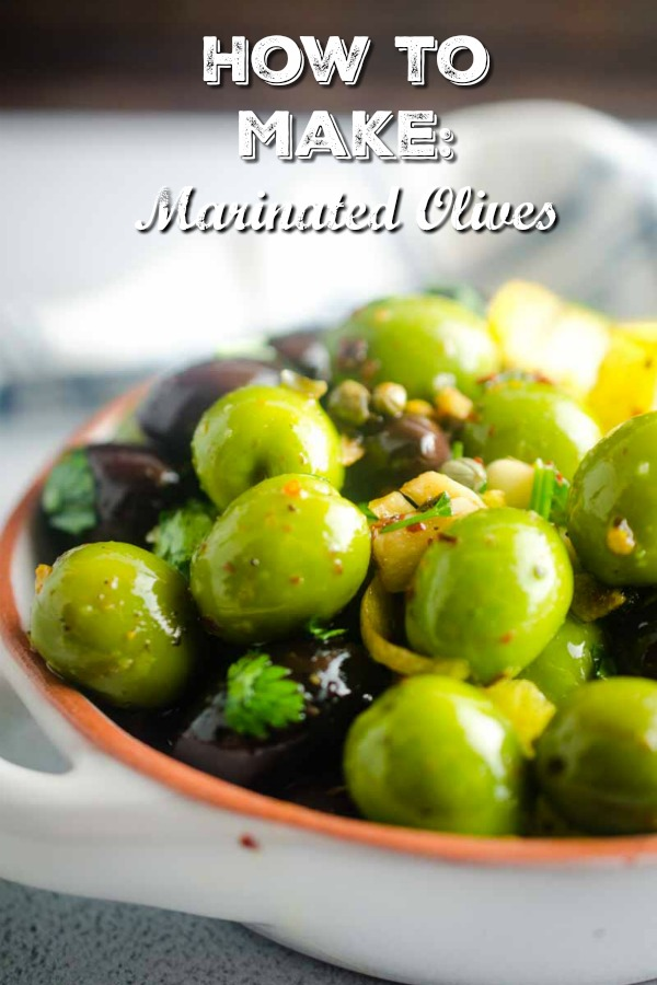 Easy Marinated Olives are perfect for holiday parties! #appetizer #snack #olives #glutenfree #vegetarian #vegan