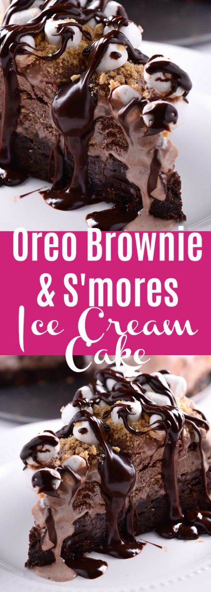 This decadent Oreo Brownie & S'mores Ice Cream Cake has a brownie crust, s'mores ice cream, marshmallows, graham cracker crumbs & chocolate ganache.