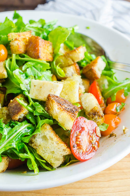 Easy panzanella salad is a hearty rustic salad perfect for summer!