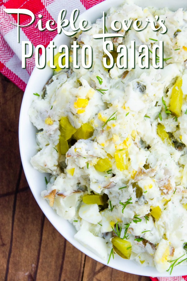 Dill Pickle Potato Salad is a lightened up potato salad made for dill pickle lovers. Greek yogurt based and loaded with potatoes, dill pickle brine, chopped dill pickles, dill relish and fresh dill.  #dillpickle #potatosalad #bbq #potluck #vegetarian #glutenfree #salad #potatoes #sidedish