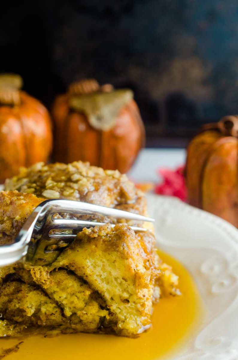 This Pumpkin French Toast Casserole just screams fall Sunday morning. The use of prepackaged cinnamon rolls makes it a snap to put together too!