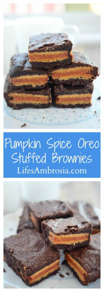 Decadent chocolate brownies with a pumpkin spice Oreo stuffed inside make these Pumpkin Spice Oreo Stuffed Brownies a perfect fall treat!