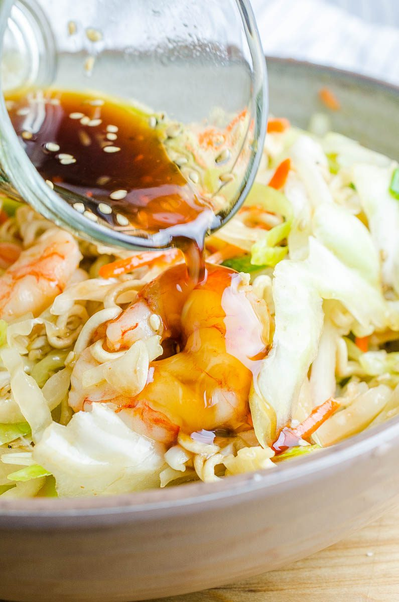 Shrimp ramen noodle salad is a quick and easy dinner recipe with a sweet and spicy kick of flavor.