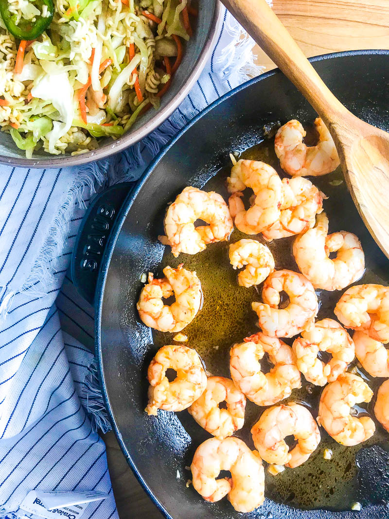 Shrimp in a pan for Ramen Noodle Salad