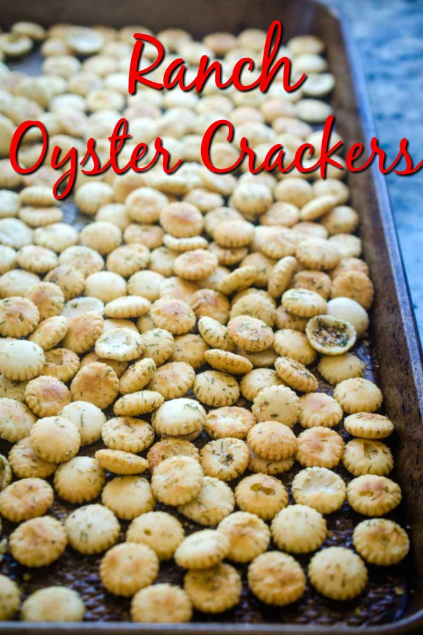 Ranch Oyster Crackers are the perfect snack for your next party or the perfect addition to a bowl of hot soup. 6 ingredients is all you need for this quick and easy snack. #snack #oystercrackers #seasonedcrackers