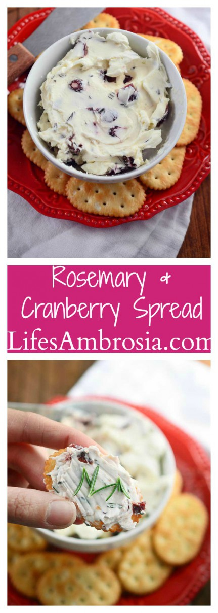 This easy, festive Rosemary and Cranberry Spread will be the hit of all of your holiday parties!