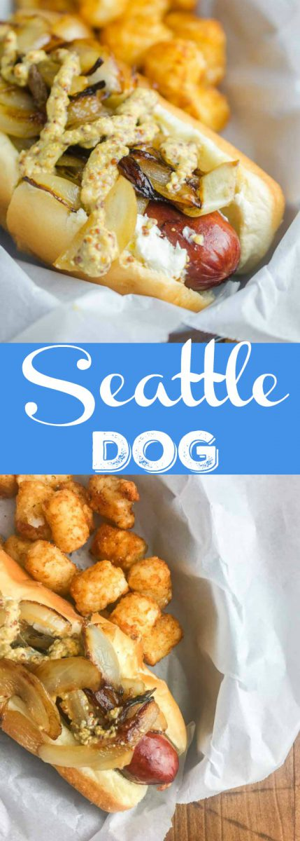 The Seattle Dog is Hot Dog Perfection. A perfectly cooked sausage slathered with cream cheese, and topped with caramelized onions and tangy mustard.