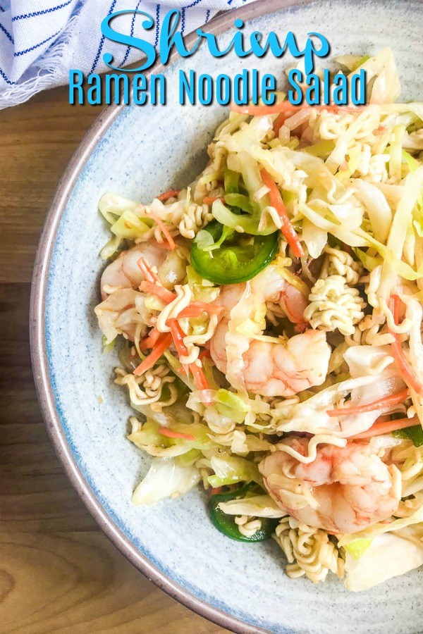 Shrimp ramen noodle salad is a quick and easy dinner recipe with a sweet and spicy kick of flavor. #ramennoodlesalad #salad #seafood #shrimp