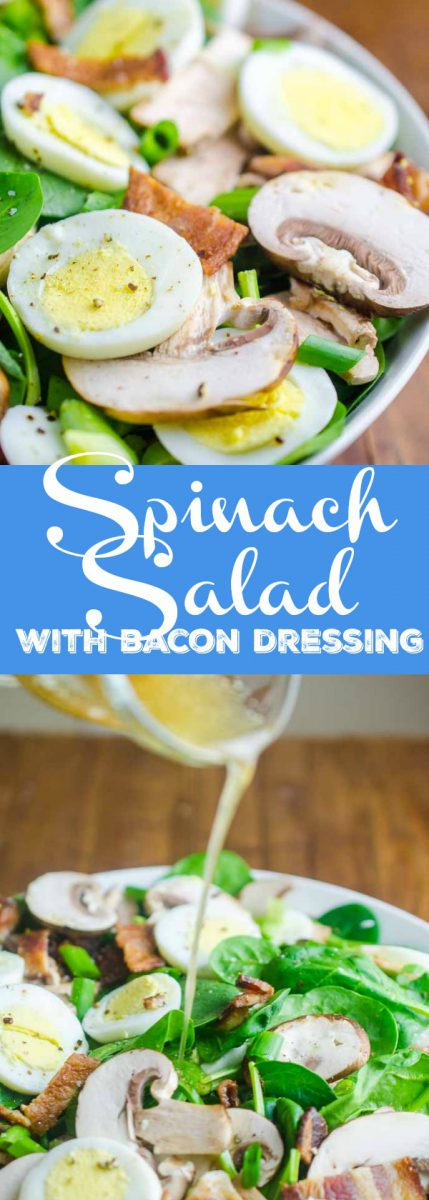Spinach Salad with Bacon Dressing is a classic for a reason. Fresh spinach tossed with mushrooms, crispy bacon, hard boiled eggs and tossed with a warm bacon dressing.