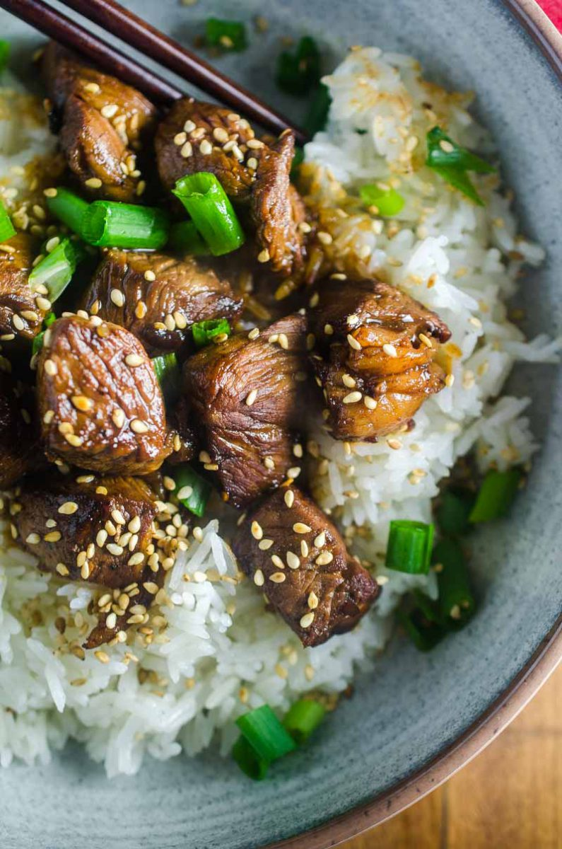 These Tender Teriyaki Steak Bites are marinated in a sweet n' tangy teriyaki sauce then cooked to perfection. They are bite size and perfect for the whole family.