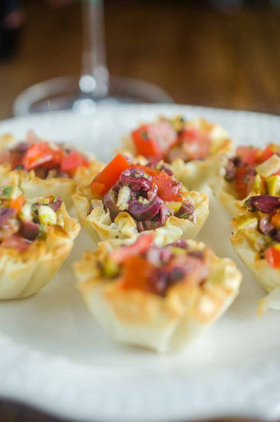 Tomato Olive Phyllo Cups