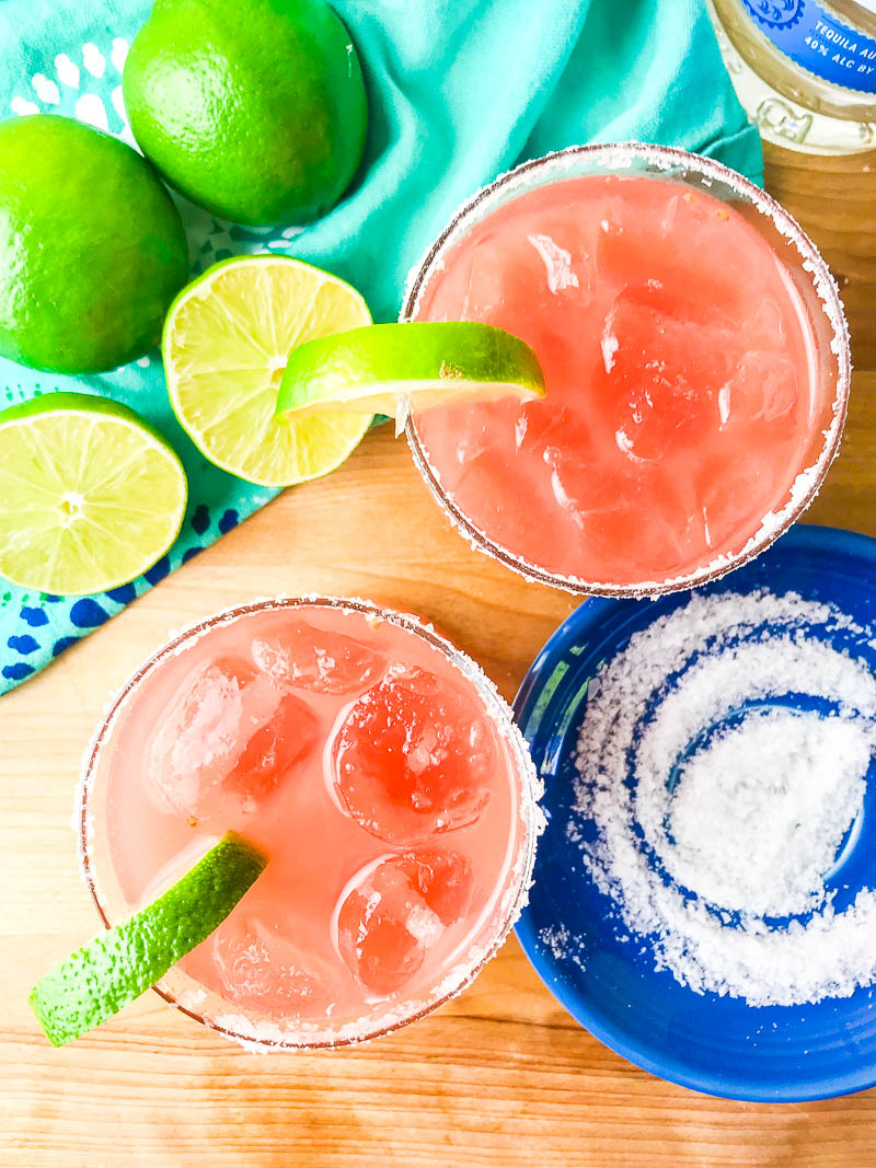 Simply refreshing Watermelon Margaritas will be your go to way to cool down this summer! And you only need 3 ingredients to make them!