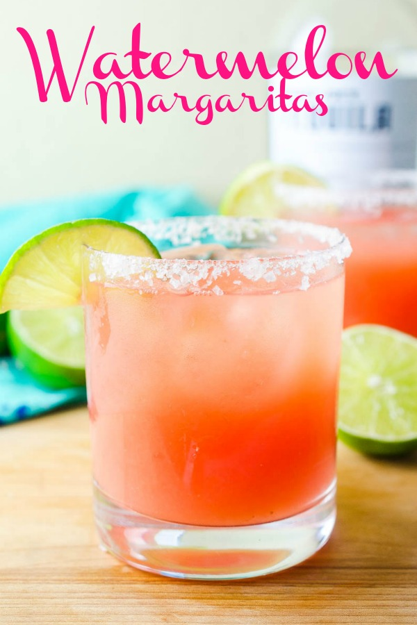 Simply refreshing Watermelon Margaritas will be your go to way to cool down this summer! And you only need 3 ingredients to make them! #cocktails #watermelon #margarita #margaritarecipe
